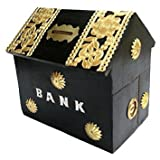 Wood City Handicrafts Handicraft Wooden Hut Shape Money Bank/Piggy Bank/Money Bank for Kids and Adult (Black)
