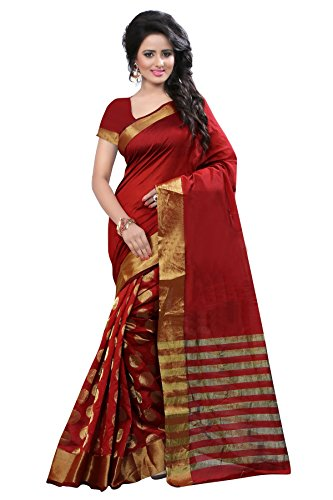 Shree Sanskruti Women's Cotton Silk Saree (RAJ RED ROUND_Red)