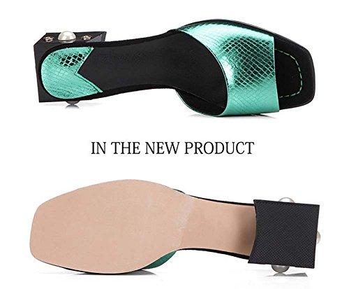 L&Y Donna Peep Toe Pump Serpentine Pearly Pelle Sheepskin Rough Heel Shampoo Beaded Mid Heels Sandali Verde