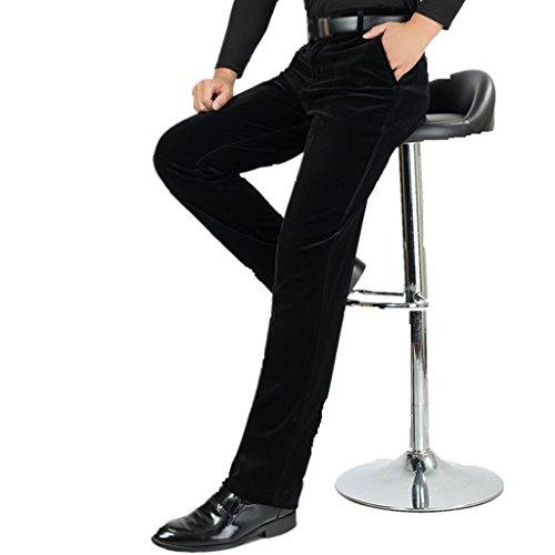 ZKOO Pantalons en Velours Homme Haute Taille Coton Cotelé Pantalon épais Chaud Automne et Hiver Noir