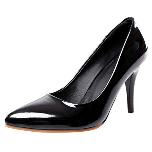 COOLCEPT Femme Escarpins Noir Haut Talon Classique Bas Aiguille Talon Bureau Grand Mode Taille 44wBfdqr