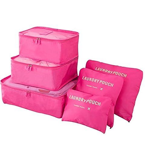 BlueBeach® Satz von 6 Reise Kleidertaschen Verpackungswürfel organizer Wäschesack Gepäck Kompressionstaschen Tasche in Tasche Taschenorganizer für