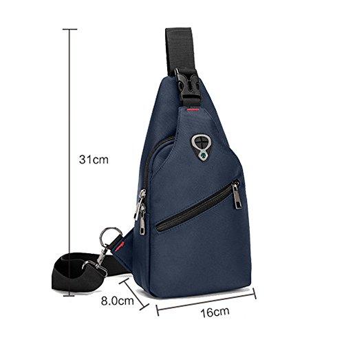 Herren wasserdicht verschleißfest Brusttasche Schleuder Tasche für Sport Outdoor Reisen Blau