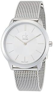 Calvin Klein K3M22126 - Reloj analógico de cuarzo para mujer con correa de acero inoxidable, color plateado de Calvin Klein