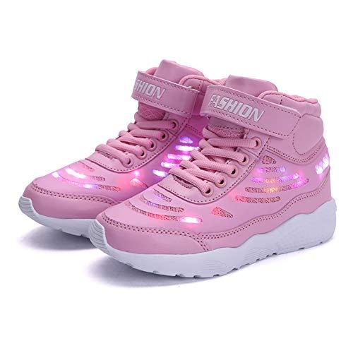 Axcone LED Leuchtet Schuhe Sneakers mit USB der Kinder Lässige Mode Sneakers Jungen Mädchen Geschenk für Halloween Weihnachten Danksagung- 289 Rosa 31EU