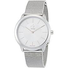 Calvin Klein K3M22126 - Reloj analógico de cuarzo para mujer con correa de acero inoxidable, color plateado