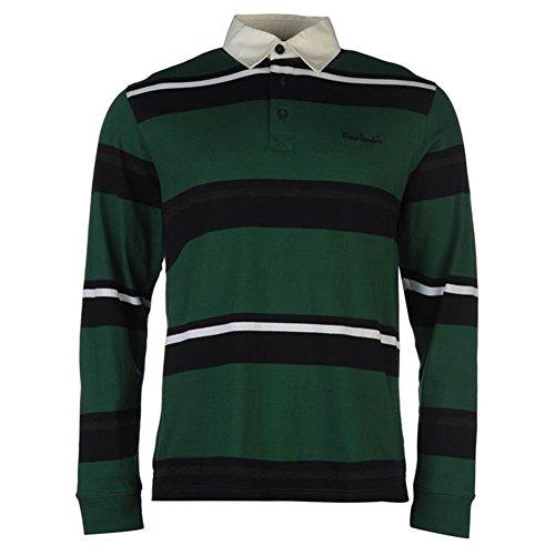 Pierre Cardin Herren Langarm Rugby Polo Shirt (559317) Dk Green/Navy