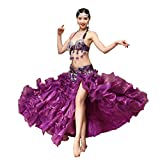 JXILY HJL Danza del Ventre Completi per Donna da esibizione Poliester Perline/Cristalli/Strass 3 Pezzi Senza Maniche CadenteCintura/Gonna /, Violet, l