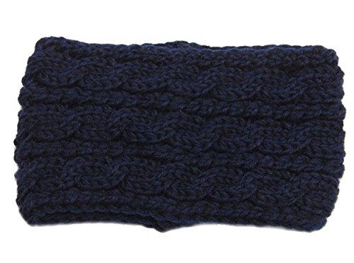 hugestore Donna Vintage Maglia Uncinetto con Headwear Fascia da Testa paraorecchie testa Warmer Deep Blue