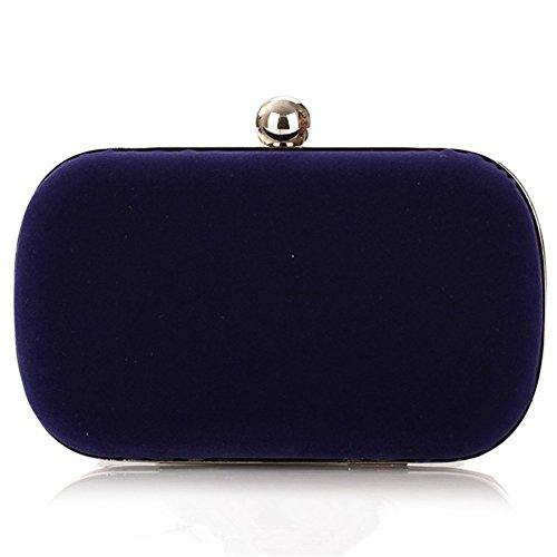 ERGEOB Damen Clutch Flanell Clutch Abendtasche Handgelenkstaschen für Party Blau