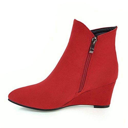 Heheja Donna Scarpa Moda Stivali Tempo Libero Caldo Inverno Cerniera Stivaletti Rosso