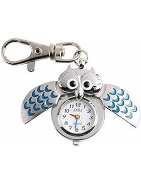 OrrOrr Blau Steampunk Modernes Silber Eule Tasche Kette Uhr Quarzuhr Anh?nger