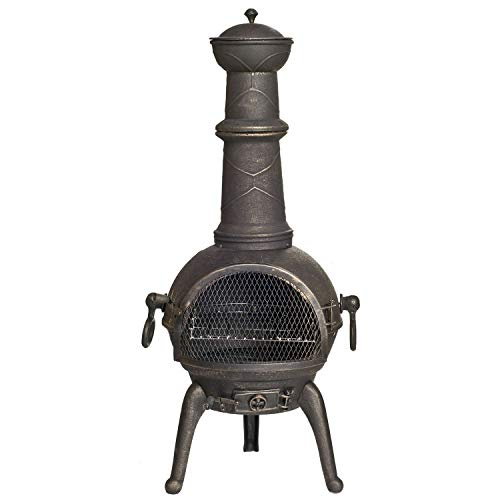 La Hacienda (free cover) Large 107cm 100% Cast Iron Chiminea + BBQ Grill