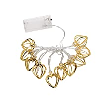 ADESHOP Curtain Metal Heart String Lights - Battery Operated 10 Warm White Decor LEDs by Festive Lights Golden