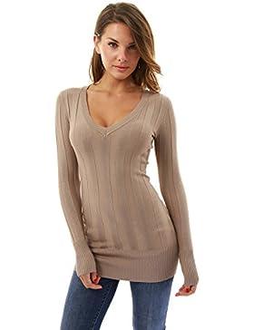 PattyBoutik Mujer v túnica tejer la parte superior del cuello de canalé