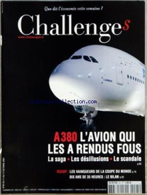 CHALLENGES [No 95] du 11/10/2007 - AVANT-PREMIERES - CONFIDENTIEL L'AMBASSADEUR ALLEMAND MALMENE - POLITIQUE SARKOZY REDONNE LE SOURIRE AUX ELUS - MEDIAS UN PORTAIL DE VENTE EN LIGNE DE PUBLICITE - BOURSE NOS CONSEILS DE LA SEMAINE - GRAPHIQUE WALL STREET OUBLIE LA CRISE SUBPRIMES - L'EVENEMENT - UNE VICTOIRE QUI DONNE DE L'AIR - LES SPONSORS AYANT MISE SUR LE RUGBY ONT FAIT UN PARI RISQUE MAIS GAGNANT - TETES D'AFFICHE - RENCONTRE BERNARD KOUCHNER MINISTRE DES AFFAIRES ETRANGERES LE 4 OCTOBRE PDF Books