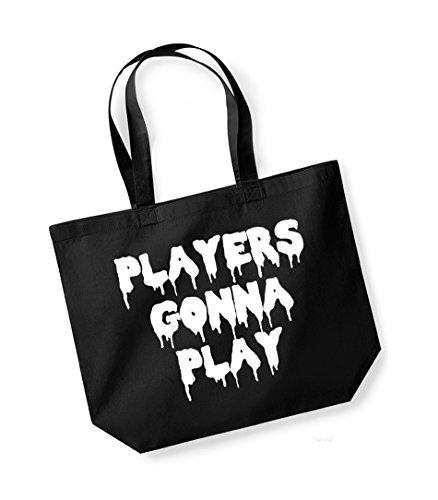 Players Gonna Play - Large Canvas Fun Slogan Tote Bag Black/White