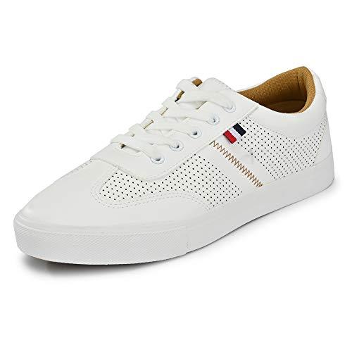 Klepe Men's White Sneakers-8 UK (42 EU) (9 US) (4/FKT/WHT/08)