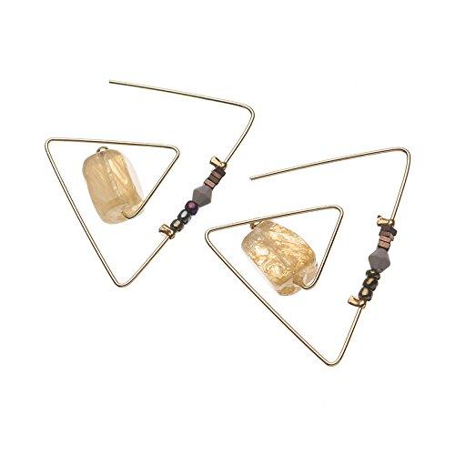 GOZAR Retro Triángulo Geométrico Natural De Piedra De Cristal Aretes De Mujer-2