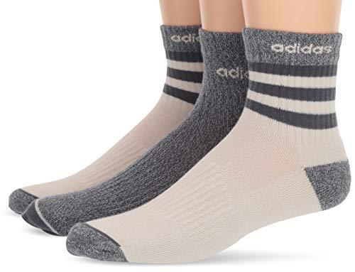 adidas Herren Socken 3-Streifen High Quarter 3er-Pack, Herren, Socken, Men's 3-Stripe High Quarter (3-Pack), Raw White/Onix - Raw White Marl/Onix, 6-12 -