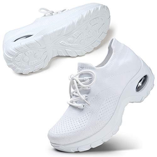Scarpe da Corsa con Cuscino d'Aria Femminile Scarpe da Trekking Traspiranti a Rete Allenamento Fitness Bianco 41 EU