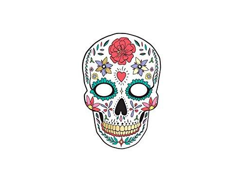 Unbekannt Totenkopfmaske Dia de Los Muertos Weiß mit Gummiband, 1 Stück, MASP14 (Dia De De Halloween Fotos)
