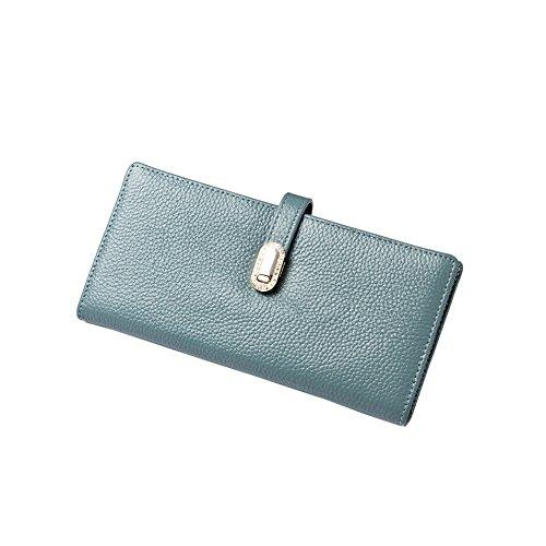 Yvonnelee Delle donne del cuoio genuino portafogli borsa esclusiva Long Bifold cassa Blu