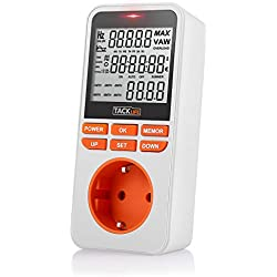 Consumo de energía, Tacklife-MPM02-Medidor de energía, temporizador programador digital de MAX 3680W /16A, Registre 6 meses de datos. Monitor en tiempo real de datos de electricidad, ahorre dinero y energía