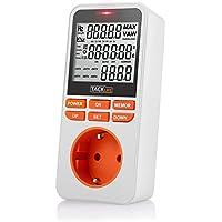 Consumo de energía, Tacklife-MPM02-Medidor de energía, temporizador programador digital de MAX 3680W /16A, Registre 6 meses de datos