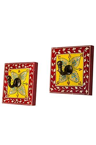 2 Stück Vintage Garderobe Kleiderhaken Istari 4 Klein 10cm groß 1er Haken | Hakenleiste Wandhaken für die Wand oder Tür | Kleiderhakenleiste Garderobenhaken aus Holz | handtuchhaken im Bad oder Küche