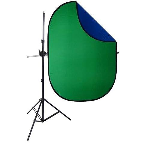 DynaSun KIT RE2010BG-KIT 2en1 150x200cm Bleu et Vert Chromakey avec Support Bras Télescopique et Trépied Fond Pliable Réversible Professionnel pour Studio Photo Vidéo