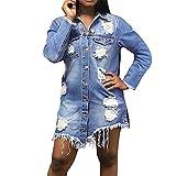Longra Damen Jeans Jacke Jacket Mantel Denim Jacket Jeansjacke Übergangsjacke Blouson Knopfverschluss Cut-Outs Denim Mantel Slim Fit Cowboy Coat Langjacken Beiläufige Outwear (S, Blau)