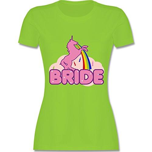 JGA Junggesellinnenabschied - JGA Bride Einhorn - tailliertes Premium T-Shirt mit Rundhalsausschnitt für Damen Hellgrün