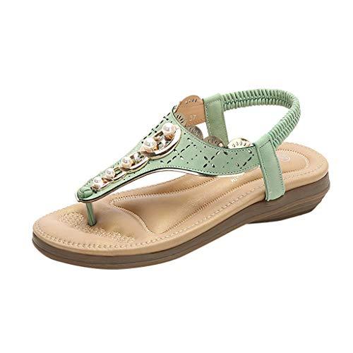 ❤Eaylis Damen Sandalen Pearl Runder Kopf Einfach Sommer Strand Schuhe Hausschuhe Stilvoll und elegant
