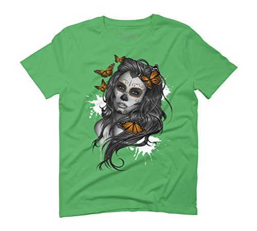 Sugar Skull Girl Men's Graphic T-Shirt - Design By Humans Green