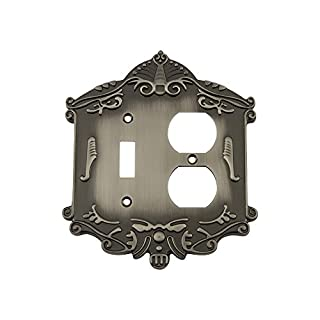 Nostalgic Warehouse 719803 Victorian Switch Plate with Toggle and Outlet, Antique Pewter