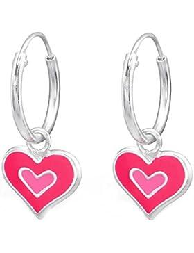 SL-Silver Ohrringe Creolen zweifarbiges Herz 925 Silber in Geschenkbox