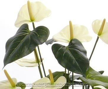 Kunstblume Anthurium mit 13 weißen Blüten und einer Höhe von 80cm, ohne Topf – künstliche Blumen Kunstblumen Dekoblumen Kunstpflanzen
