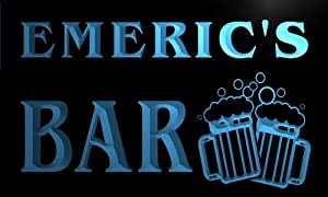 w125854-b EMERIC'S Nom Accueil Bar Pub Beer Mugs Cheers Neon Sign Biere Enseigne Lumineuse