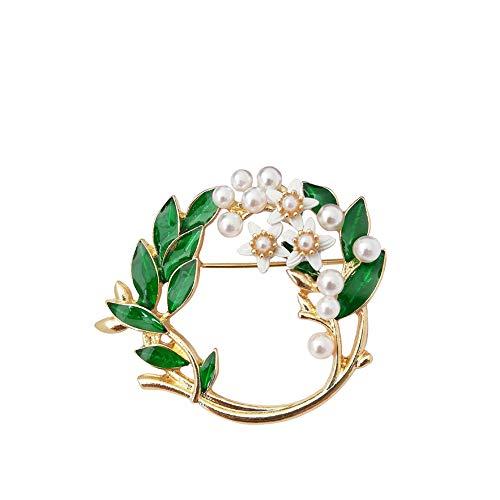 Blume Wasser Gardenia (DIYOO Brosche Blume Broschen mit Künstliche Perle Gardenia Brosche Rose Gold Broschen Grüne Brosche für Frauen Männer 3,6 * 4,5 cm)