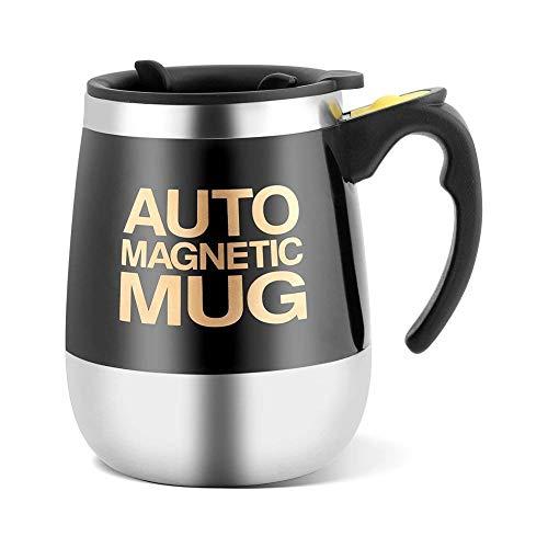 Magnetischer mischender Becher Edelstahl Selbstumrührender selbstmischender Schalen magnetischer rührender Kaffee / Tee / heißer Schokoladen Becher (Schwarz)
