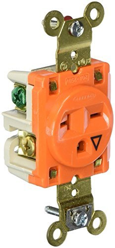 HUBBELL IG5461 AC Receptacle NEMA 6-15/20 Female Orange Simplex Isolated Ground by Hubbell -