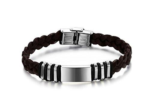 Herren-Armband Leder braun mit Verschluss mit Schnalle verstellbar–Platte aus Silber JUNGFRAU–Größe verstellbar (Leder Belüftet Damen)