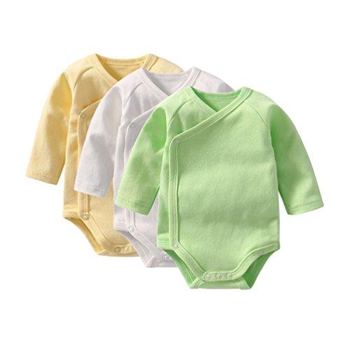 nge Mädchen Langarm Strampler Overall Mode Einfarbig Spielanzug Bodysuit Baby Geschenkset Weiß+Gelb+Grün 1 (Grünen Bodysuit)
