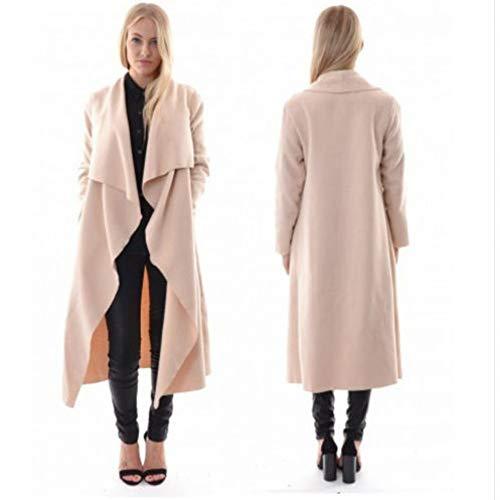SUIFENG@ Frauen Trenchcoat Damen Mantel Windbreaker Langarm Cardigan Jacke Unregelmäßige Lange Windbreaker (Chambray-mantel)
