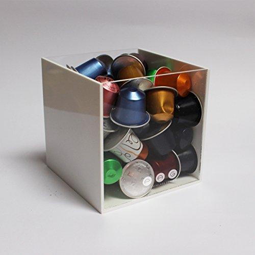 .:plexiartglass:. porta capsule cubo senza coperchio bianco+trasparente in plexiglass made in italy