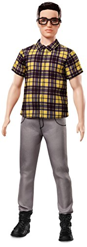 Barbie Mattel FNH44 - Ken Fashionistas Puppe in Karohemd mit Brille, gelb/schwarz (Barbie-puppe Brille)