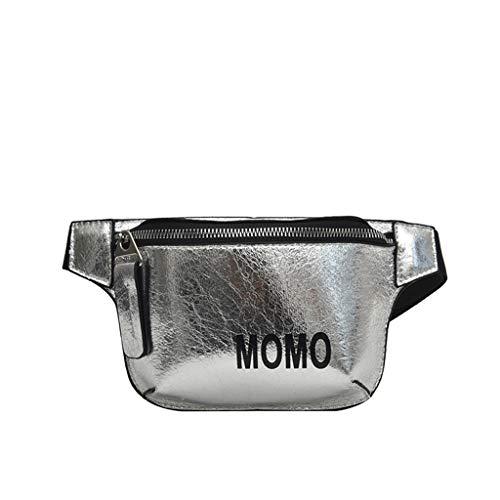 MA87 Damen Umhängetasche Das Neue Freizeit Mode Chao Han wild Eine Schulter Kontrastfarbe Brusttasche (Silber) -