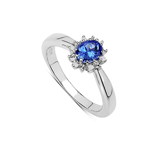 The Tanzanite Ring Collection Sterling-Silber 925 ovaler Tansanit Diamant-Cluster (Tansanit Ring Sterling Silber)