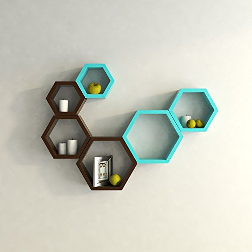 USHA Furniture Hexagon Shape Wall Shelf Set of 6(Blue& Brown)  available at amazon for Rs.1699